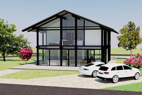 Modern Exterior - Front Elevation Plan #542-4