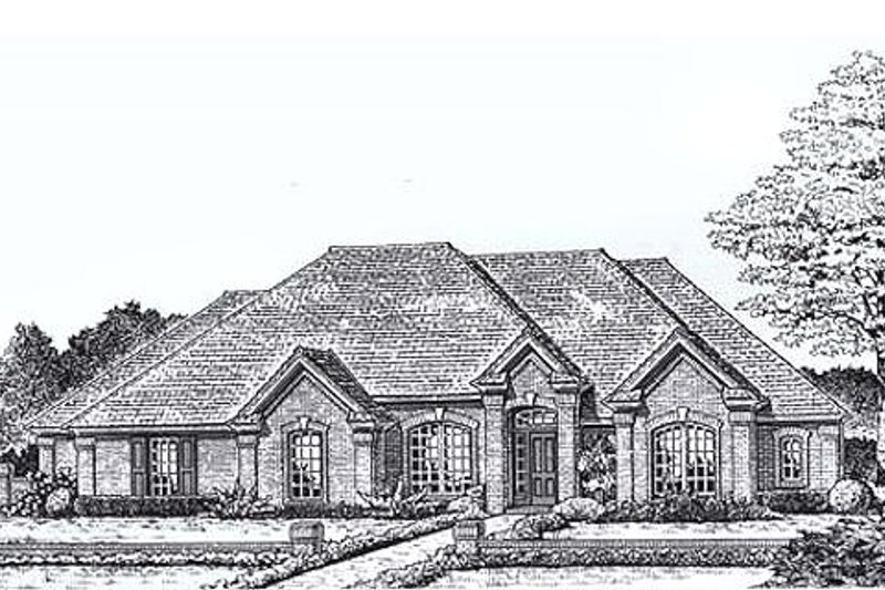 European Style House Plan - 4 Beds 3 Baths 2289 Sq/Ft Plan #310-825 Exterior - Front Elevation