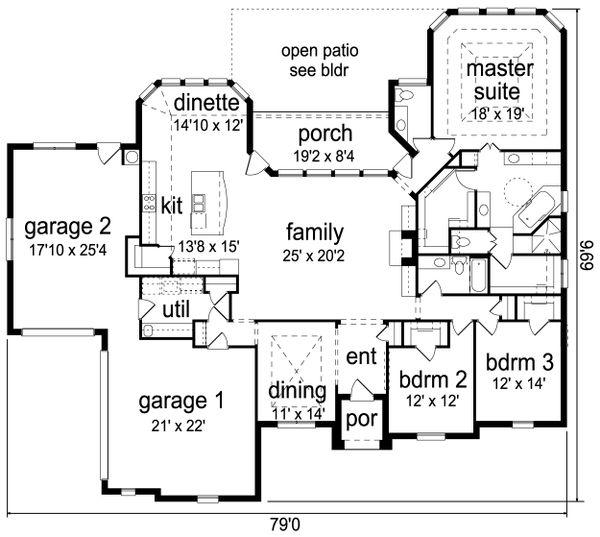 Architectural House Design - European Floor Plan - Main Floor Plan #84-616