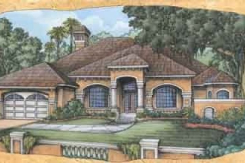 Mediterranean Style House Plan - 4 Beds 3 Baths 2519 Sq/Ft Plan #115-114 Exterior - Front Elevation
