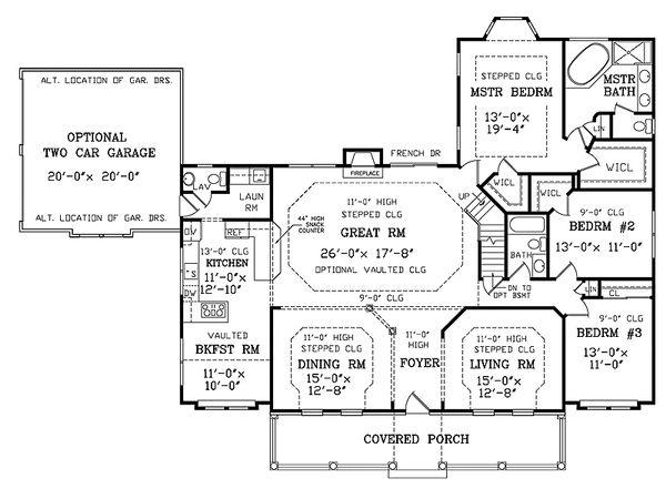 Southern Floor Plan - Main Floor Plan #456-13