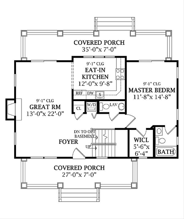 Craftsman Floor Plan - Main Floor Plan Plan #456-5