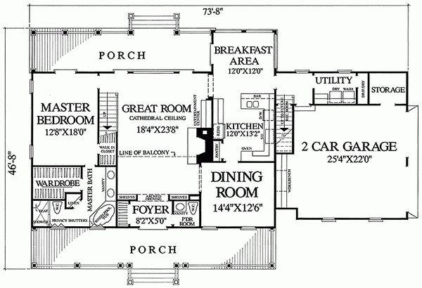Southern Style House Plan - 3 Beds 3.5 Baths 2557 Sq/Ft Plan #137-138 Floor Plan - Main Floor Plan