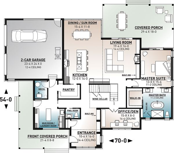 Farmhouse Floor Plan - Main Floor Plan Plan #23-2691
