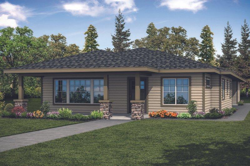 House Plan Design - Prairie Exterior - Front Elevation Plan #124-1125