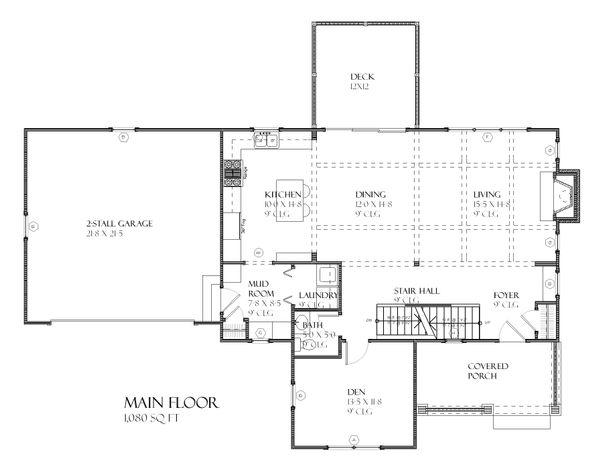Craftsman Style House Plan - 3 Beds 2.5 Baths 2122 Sq/Ft Plan #901-74 Floor Plan - Main Floor Plan