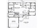 Traditional Style House Plan - 3 Beds 2 Baths 1865 Sq/Ft Plan #414-106 Floor Plan - Main Floor Plan