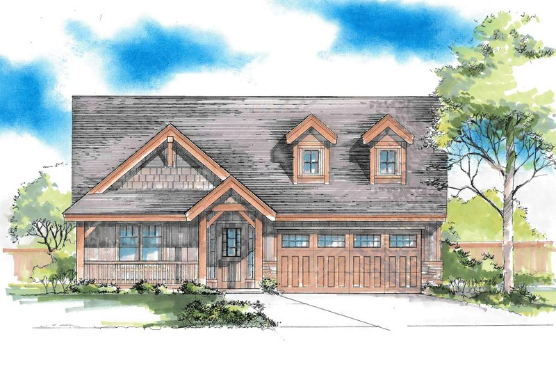 Craftsman Exterior - Front Elevation Plan #53-616