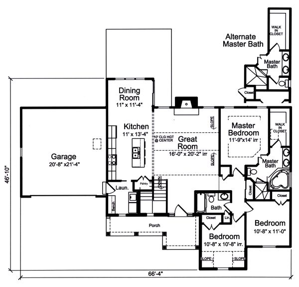 Country Floor Plan - Main Floor Plan #46-895