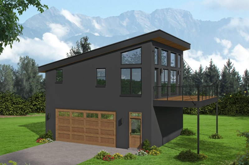 Contemporary Style House Plan - 1 Beds 1 Baths 804 Sq/Ft Plan #932-286 Exterior - Front Elevation
