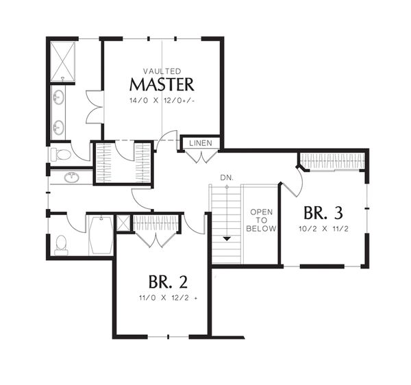 Traditional Floor Plan - Upper Floor Plan Plan #48-522