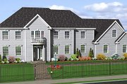 Colonial Style House Plan - 4 Beds 3.5 Baths 3544 Sq/Ft Plan #75-108 Exterior - Front Elevation