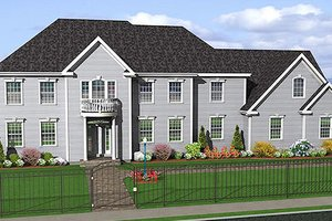 Colonial Exterior - Front Elevation Plan #75-108