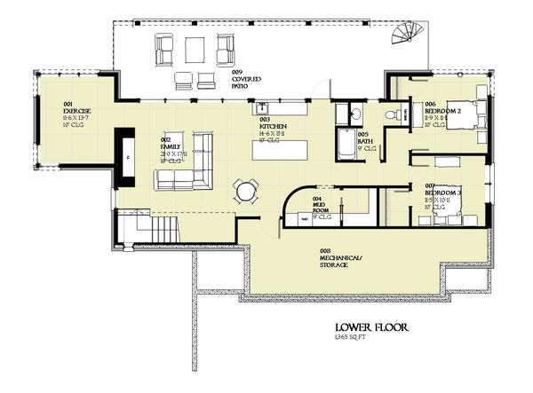 Cabin Floor Plan - Lower Floor Plan Plan #901-129