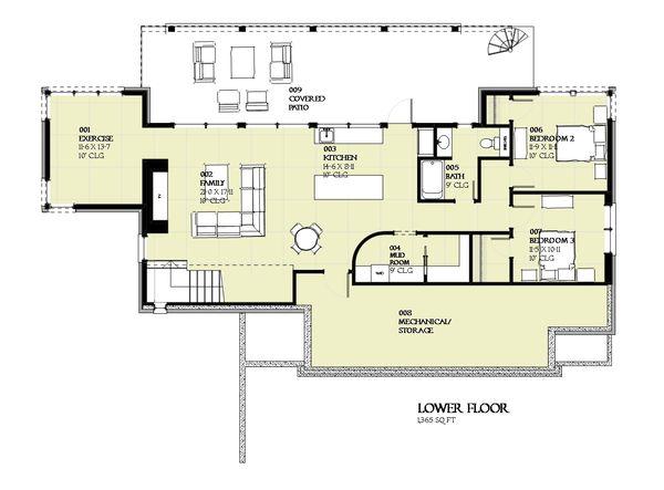 Cabin Floor Plan - Lower Floor Plan Plan #901-129