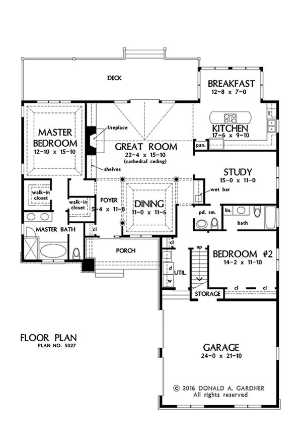 European Floor Plan - Main Floor Plan Plan #929-1029