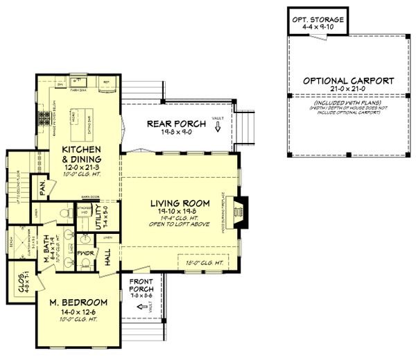 Farmhouse Floor Plan - Main Floor Plan Plan #430-180