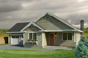 Cottage Exterior - Front Elevation Plan #497-48