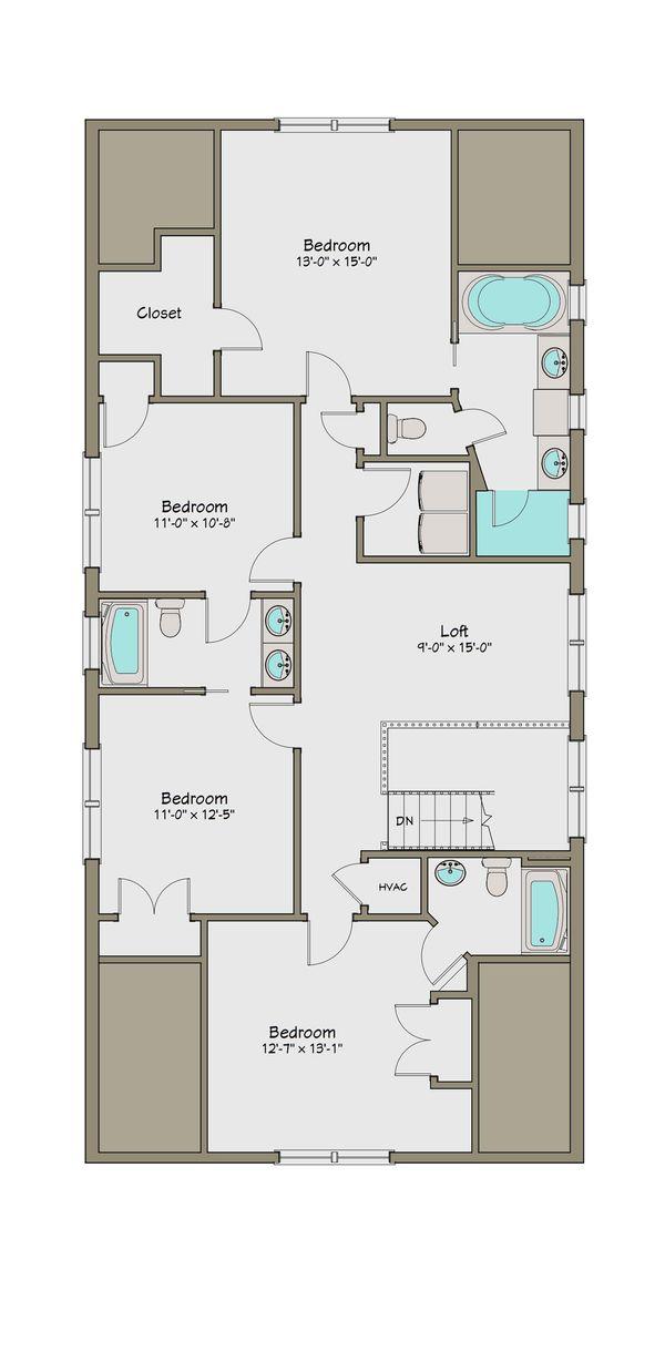 Craftsman Floor Plan - Upper Floor Plan Plan #461-42