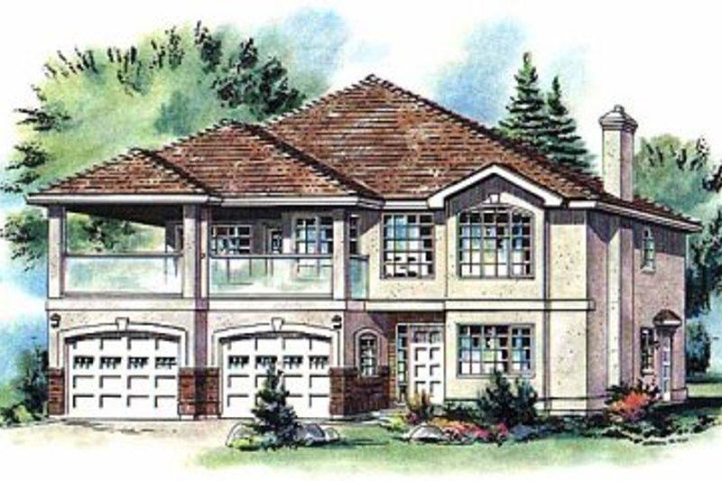House Blueprint - European Exterior - Front Elevation Plan #18-252