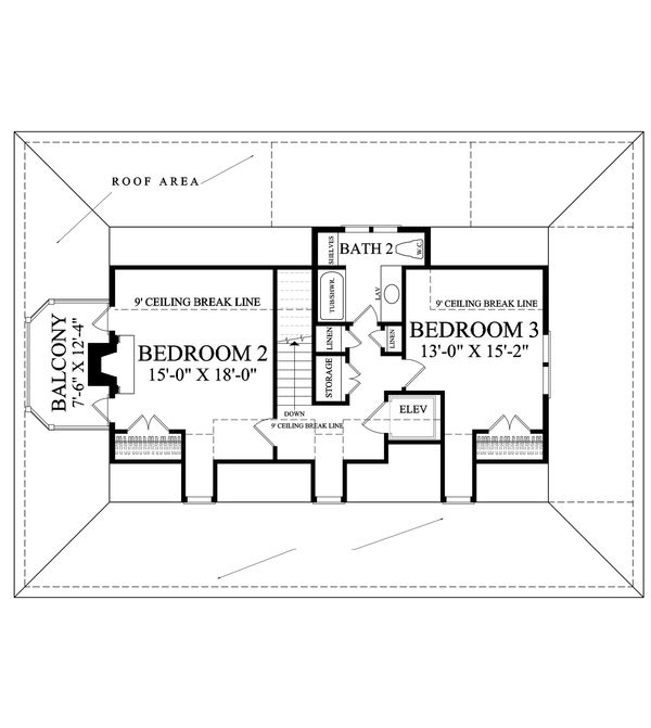 Southern style house plan, Country design, upper level floor plan