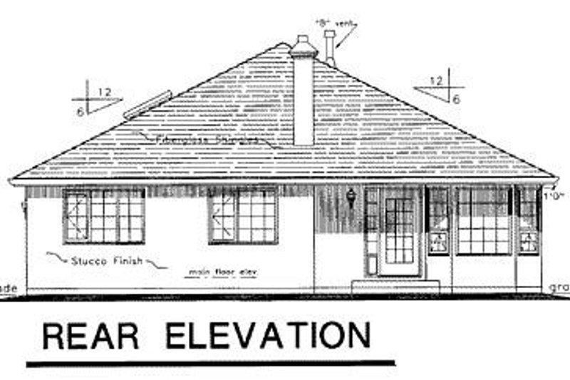 Ranch Exterior - Rear Elevation Plan #18-117 - Houseplans.com