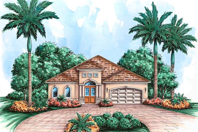 Mediterranean Style House Plan - 3 Beds 2 Baths 3219 Sq/Ft Plan #27-509 Exterior - Front Elevation