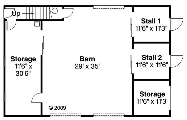 barn garage plan with stalls and/or garage below and large room above.