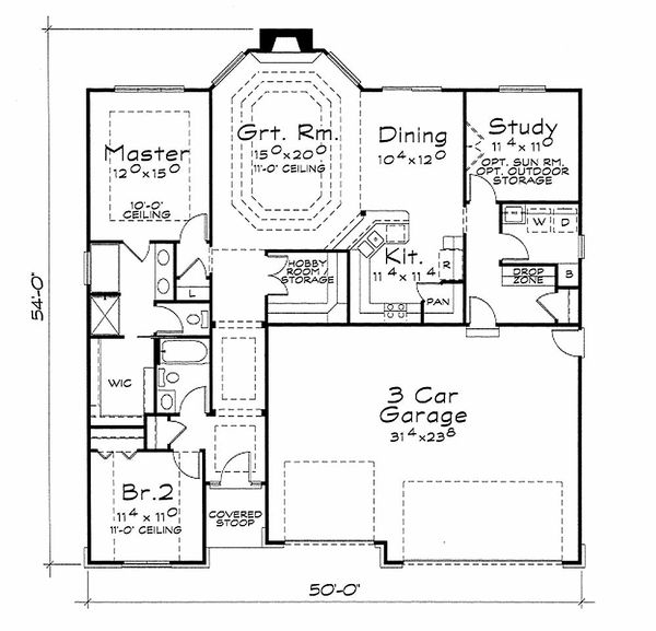 European Floor Plan - Main Floor Plan Plan #20-2118