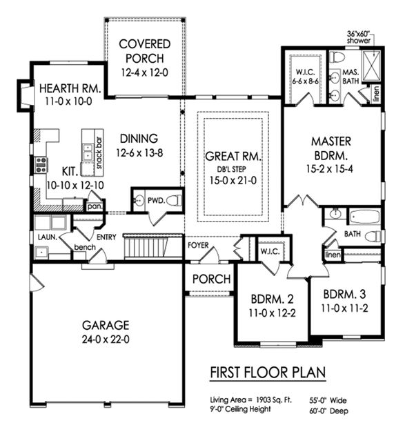 Ranch Floor Plan - Main Floor Plan Plan #1010-239