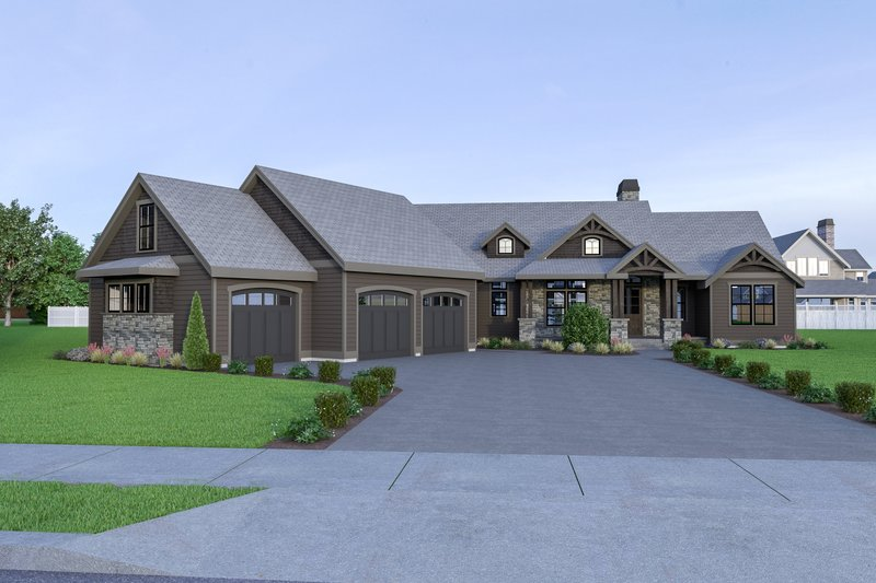 Craftsman Style House Plan - 3 Beds 2.5 Baths 2686 Sq/Ft Plan #1070-68 Exterior - Front Elevation
