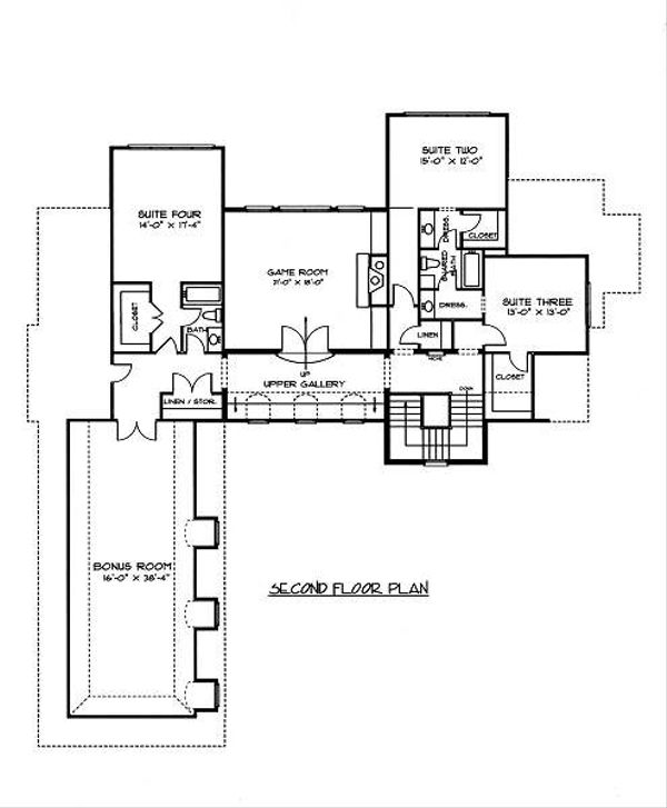 European Floor Plan - Upper Floor Plan Plan #413-149
