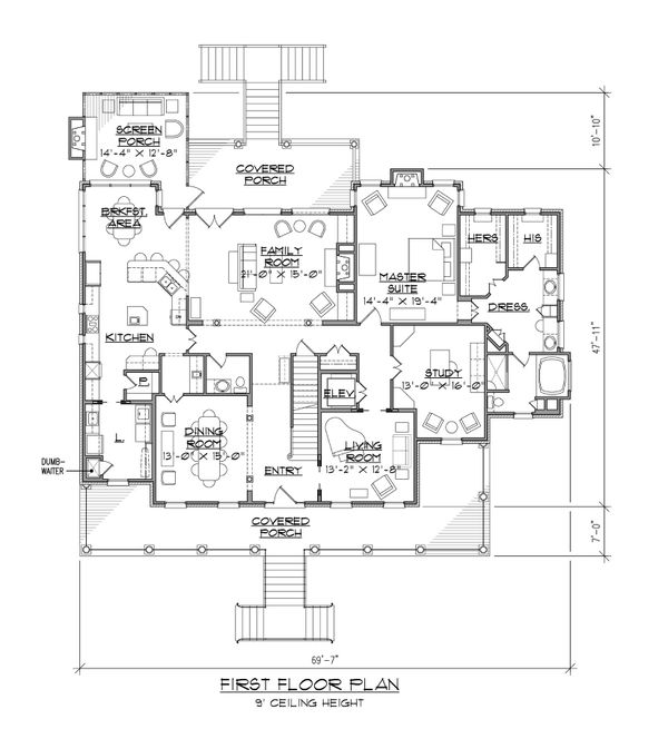 Dream House Plan - Country Floor Plan - Main Floor Plan #1054-87