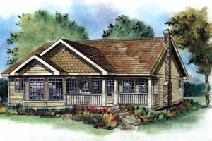 Cottage Exterior - Front Elevation Plan #18-1034