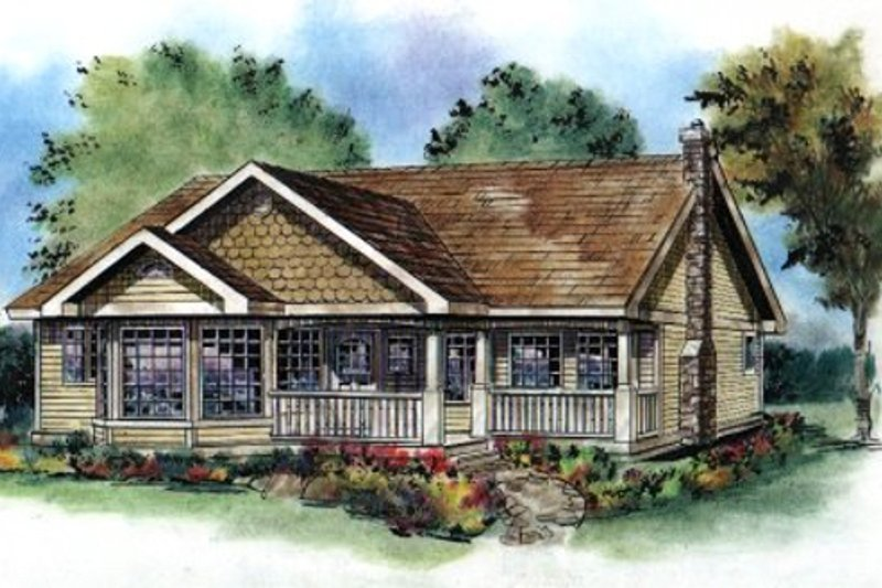 Cottage Style House Plan - 3 Beds 2 Baths 1368 Sq/Ft Plan #18-1034 Exterior - Front Elevation
