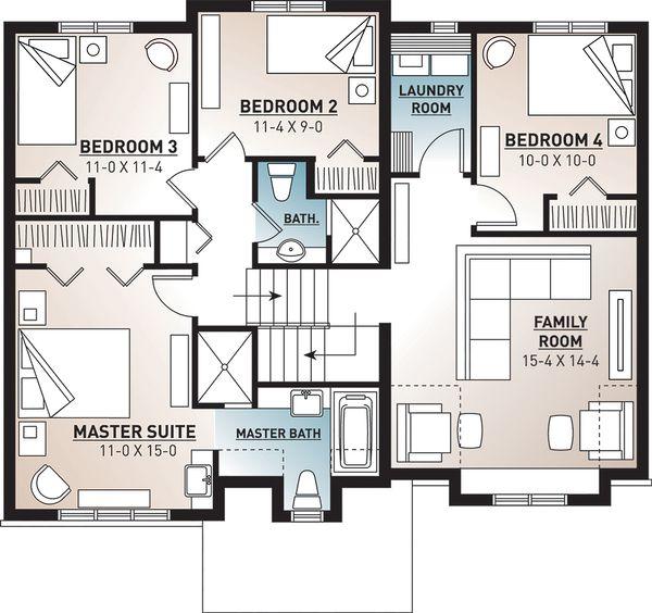 Traditional Floor Plan - Upper Floor Plan Plan #23-2445
