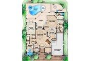 Mediterranean Style House Plan - 5 Beds 4.5 Baths 4105 Sq/Ft Plan #27-380 Floor Plan - Main Floor Plan