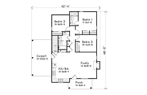 Bungalow Floor Plan - Main Floor Plan Plan #22-584
