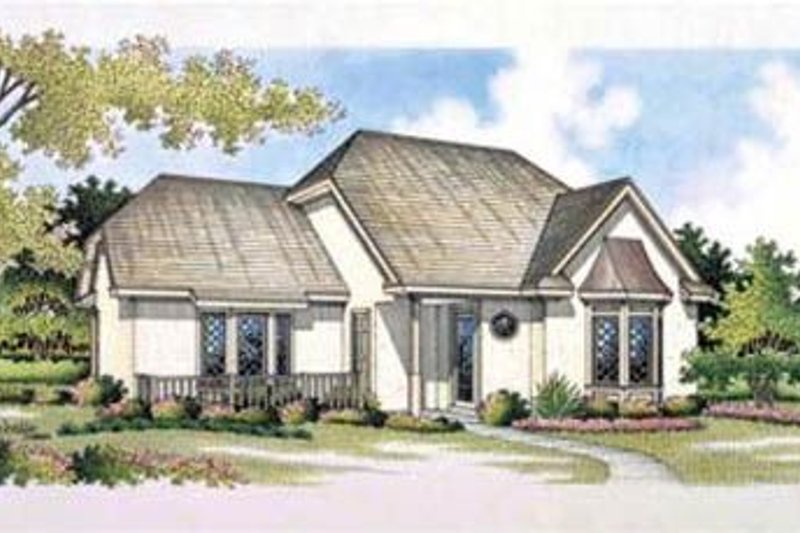 European Style House Plan - 3 Beds 3 Baths 1391 Sq/Ft Plan #45-185 Exterior - Front Elevation
