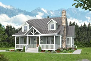 Cabin Exterior - Front Elevation Plan #932-252