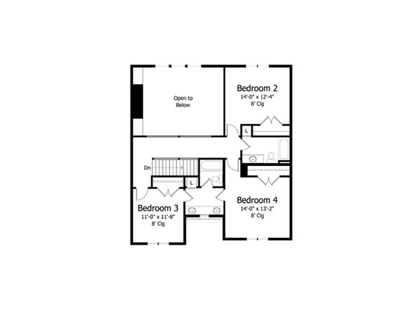 Traditional Floor Plan - Upper Floor Plan Plan #51-387