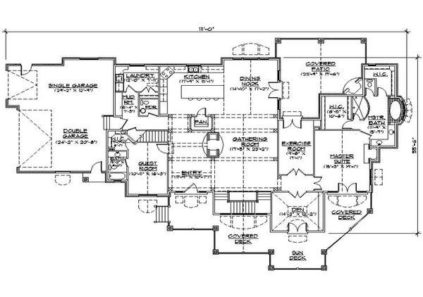 House Plan Design - Craftsman Floor Plan - Main Floor Plan #5-469