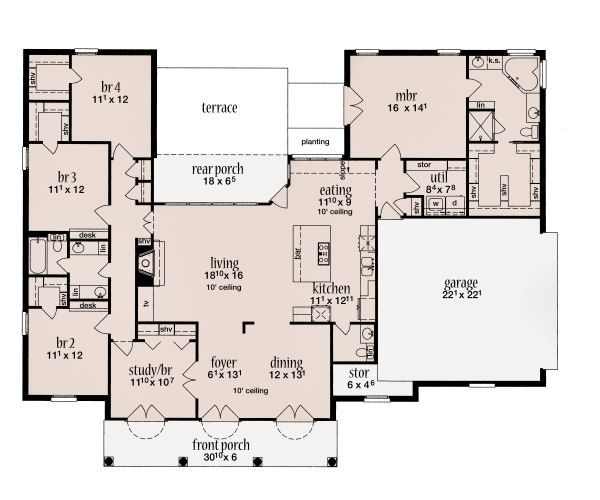 Southern Floor Plan - Main Floor Plan Plan #36-485