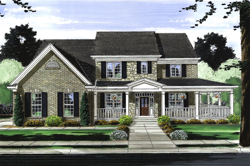 Architectural House Design - Traditional Exterior - Front Elevation Plan #46-848