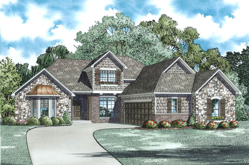 European Style House Plan - 3 Beds 2.5 Baths 2506 Sq/Ft Plan #17-2495 Exterior - Other Elevation