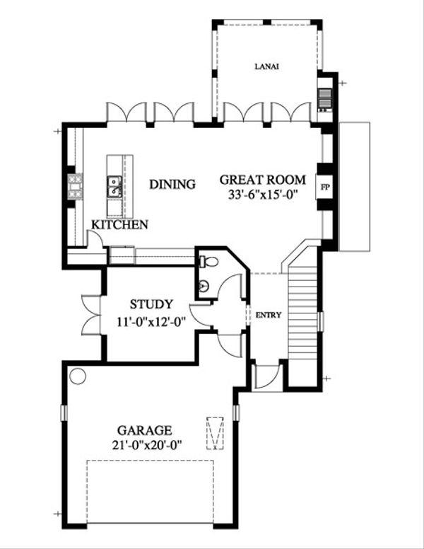Beach Style House Plan - 3 Beds 2.5 Baths 2034 Sq/Ft Plan #426-20 Floor Plan - Main Floor Plan