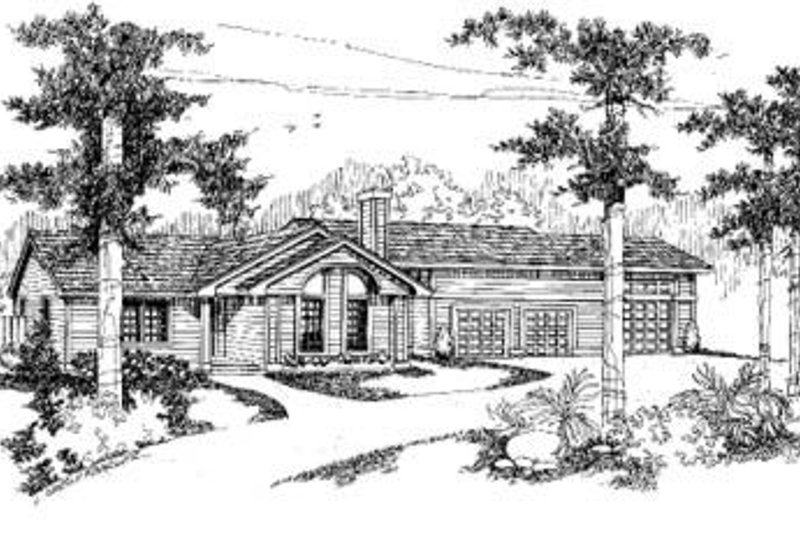 Contemporary Style House Plan - 3 Beds 2 Baths 1685 Sq/Ft Plan #60-367 Exterior - Front Elevation
