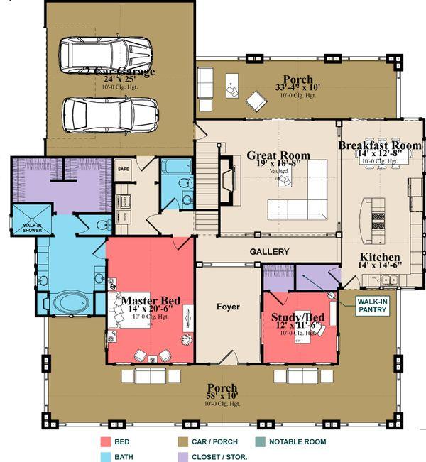 Bungalow Floor Plan - Main Floor Plan #63-404