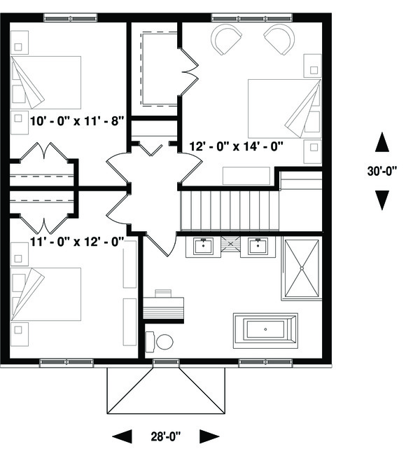 Dream House Plan - Traditional Floor Plan - Upper Floor Plan #23-2306