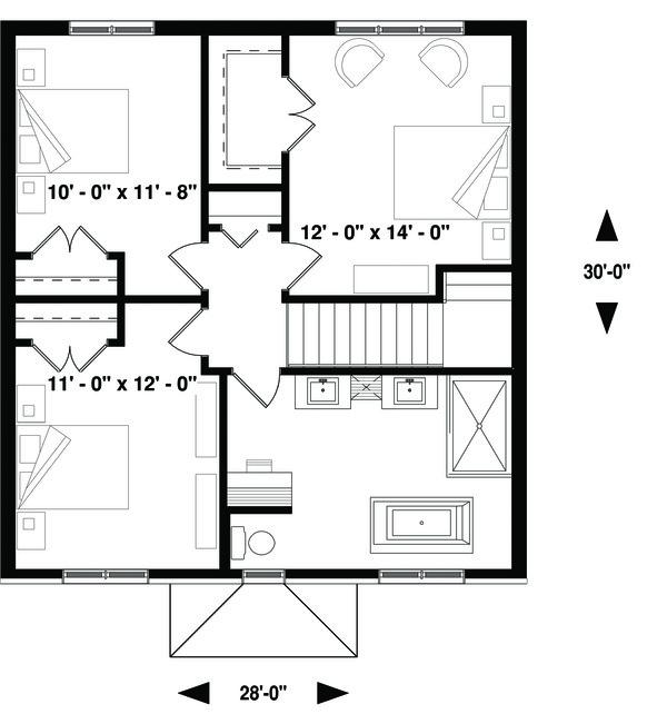 Traditional Floor Plan - Upper Floor Plan Plan #23-2306